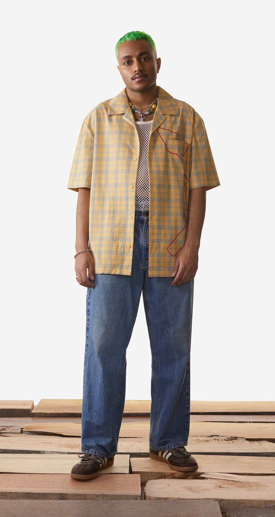 Daily Paper - Yellow Checked Kovan Shirt - Men Rear