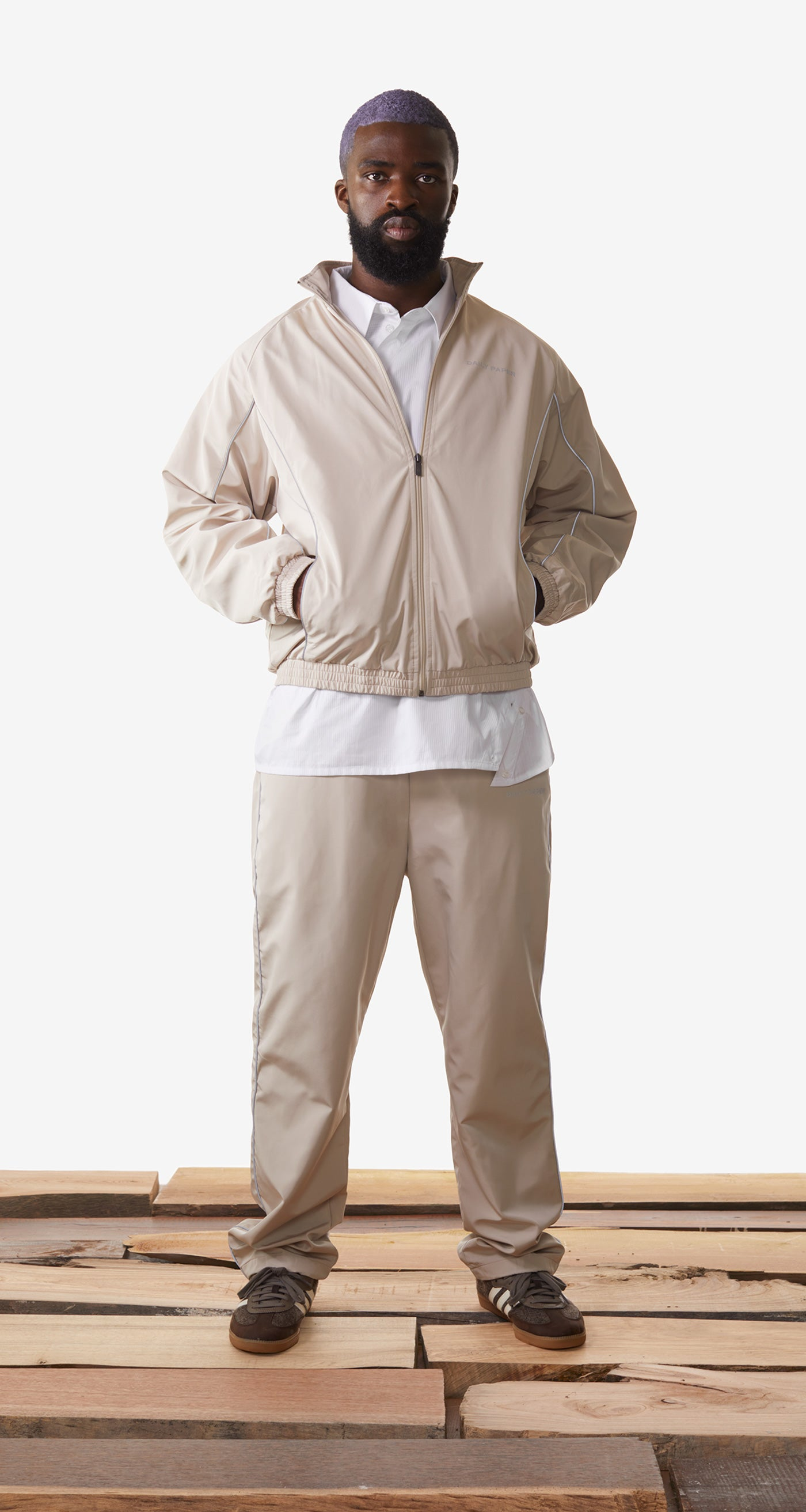 Daily Paper - Beige Etrack Pants - Men Rear