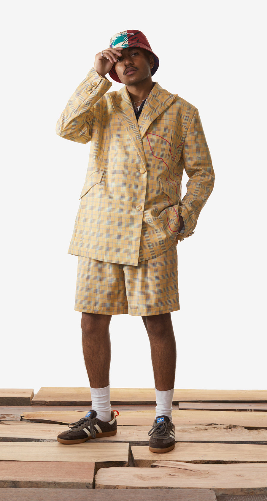 Daily Paper - Yellow Checked Klevon Shorts - Men Rear