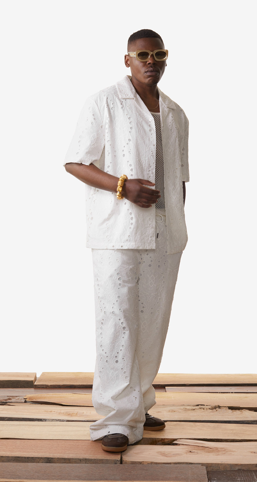 Daily Paper - White Kovan Lace Shirt - Men Rear