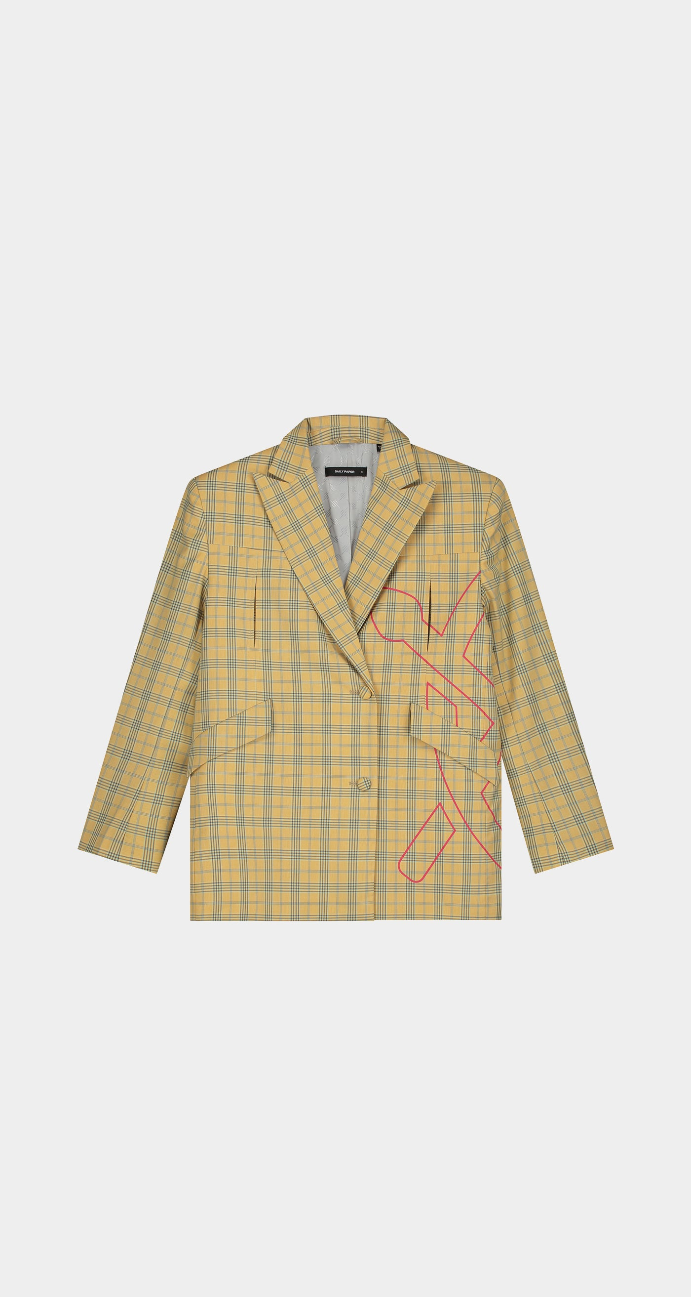 Daily Paper - Yellow Checked Keany Blazer - Men Front