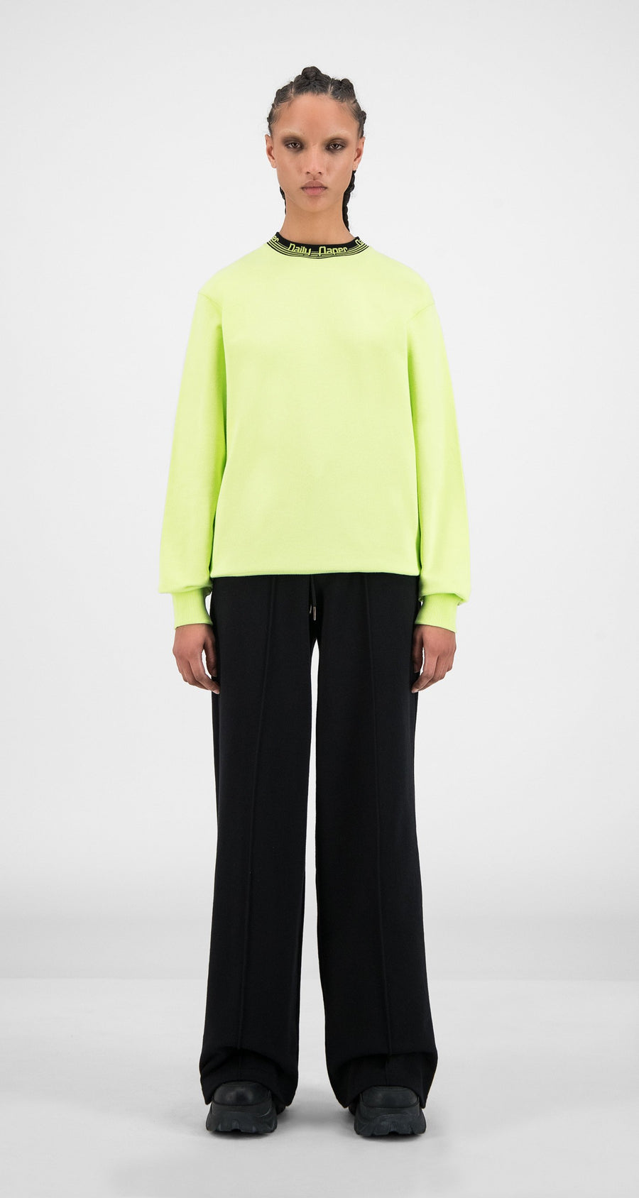 Daily Paper - Sharp Green Black Erib Sweater - Women Front