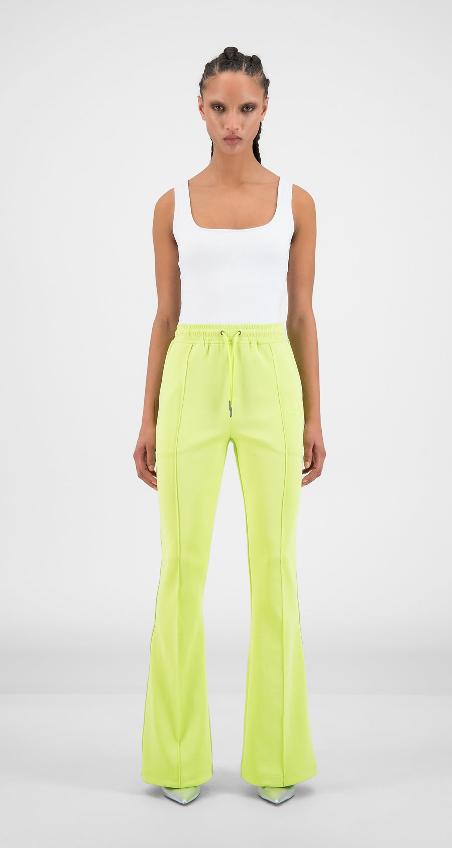 Daily Paper - Sharp Green Tape Logo Flair Pants - Women Front