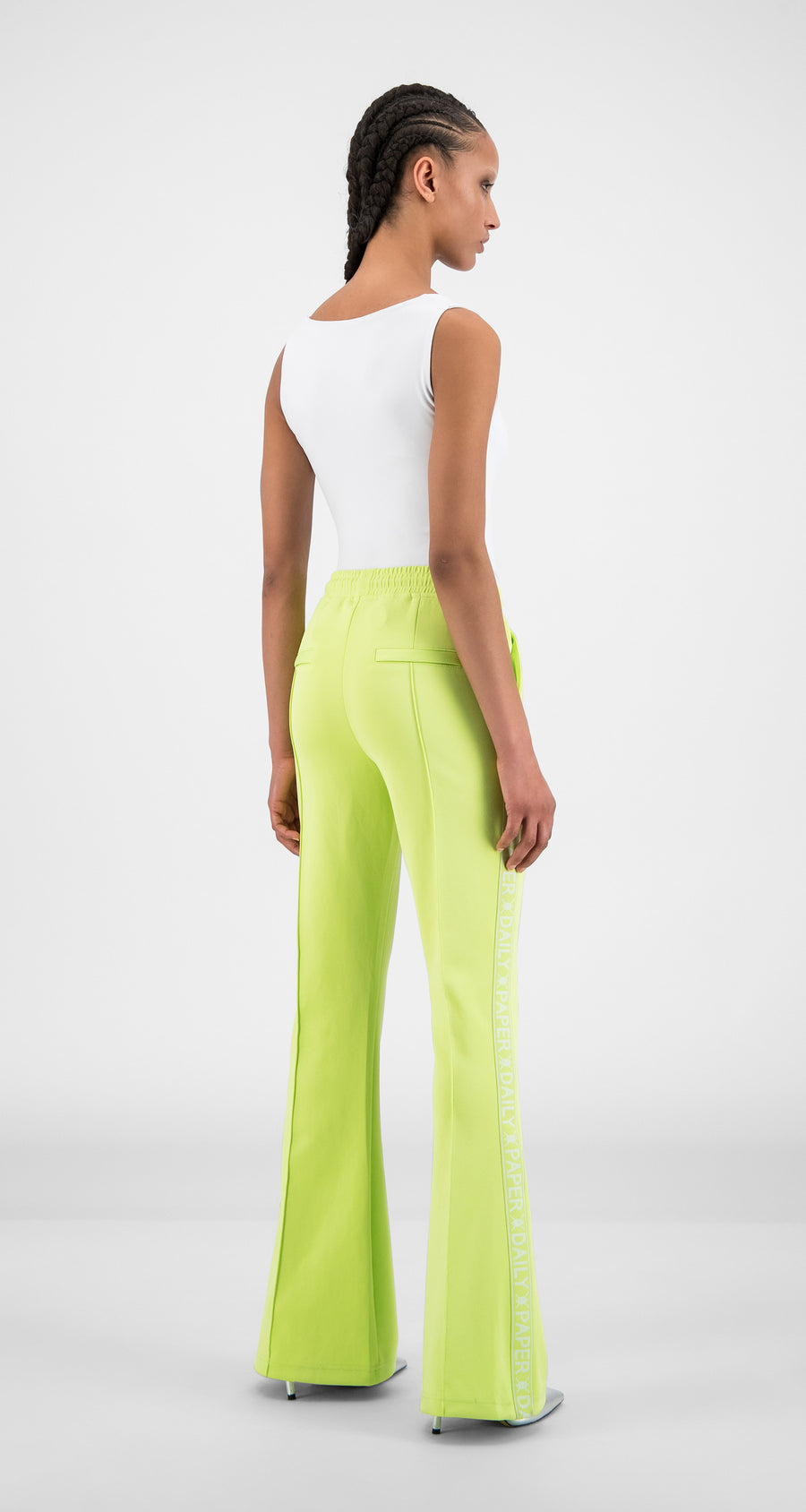 Daily Paper - Sharp Green Tape Logo Flair Pants - Women Rear