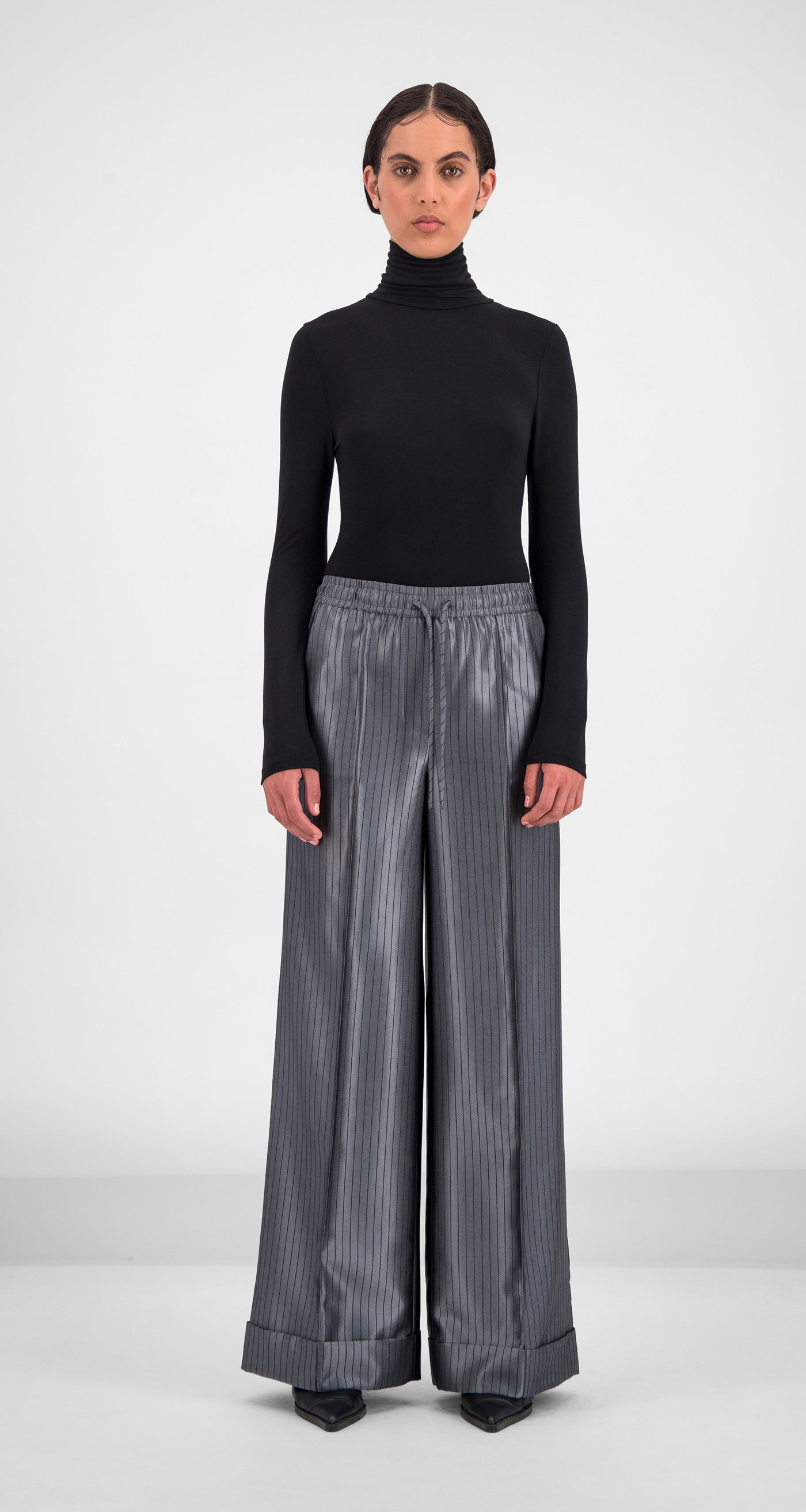 Daily Paper - Grey Stripe Gina Pants Women Front