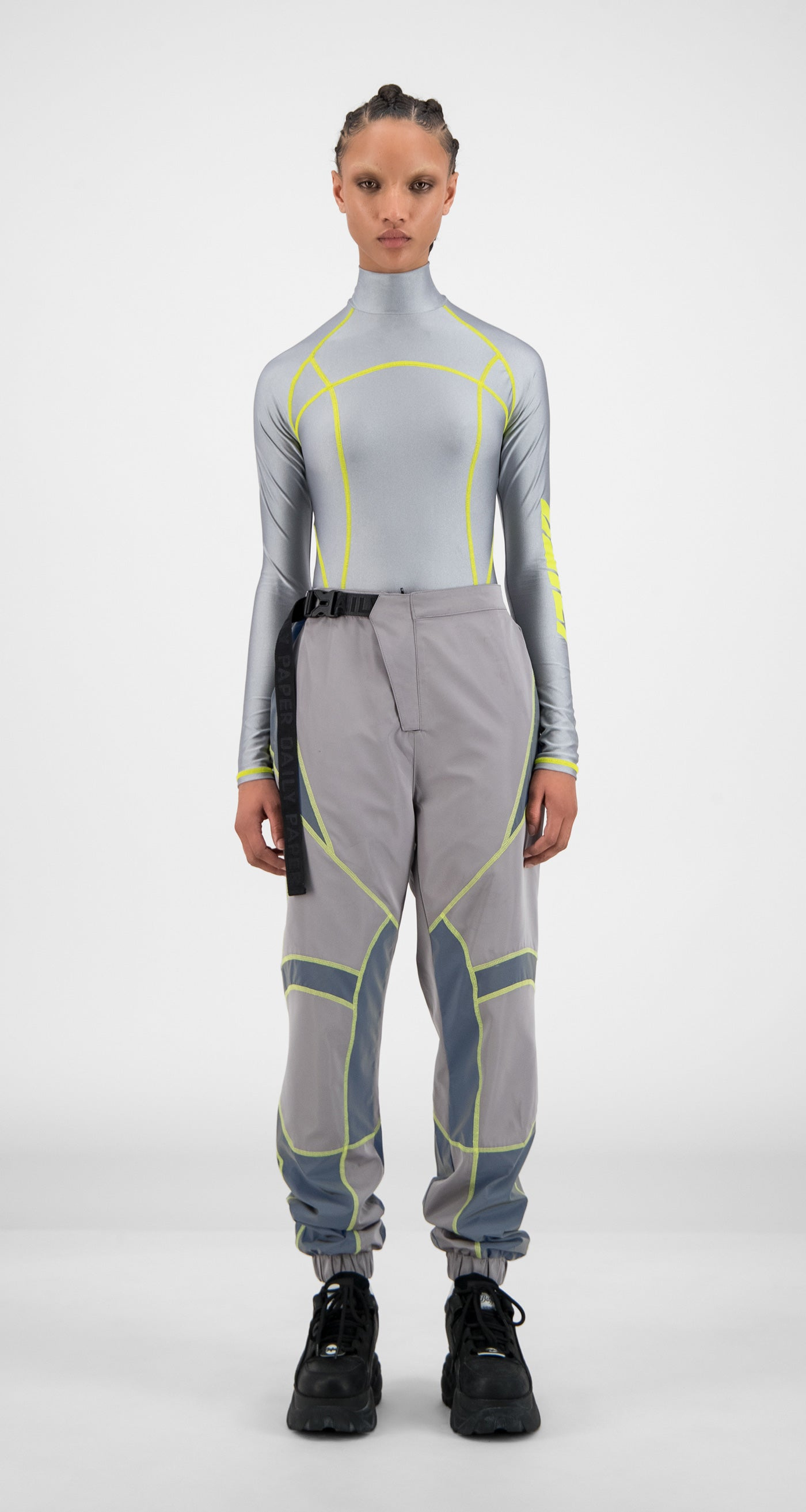 Daily Paper - Grey Reflective Hirt Pants - Women Front
