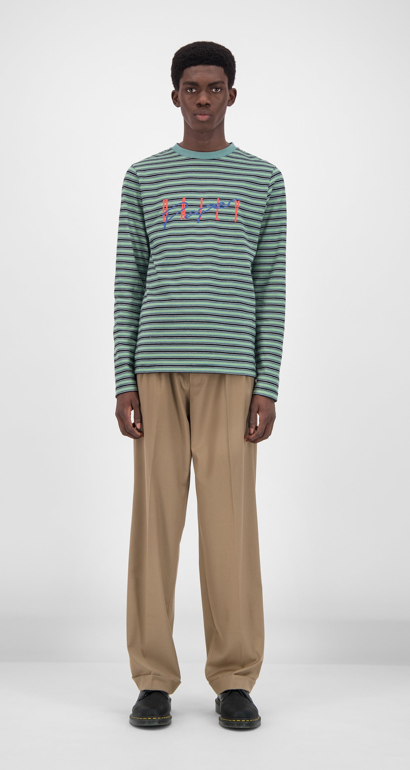 Daily Paper - Green Striped Gaso Longsleeve Men Front