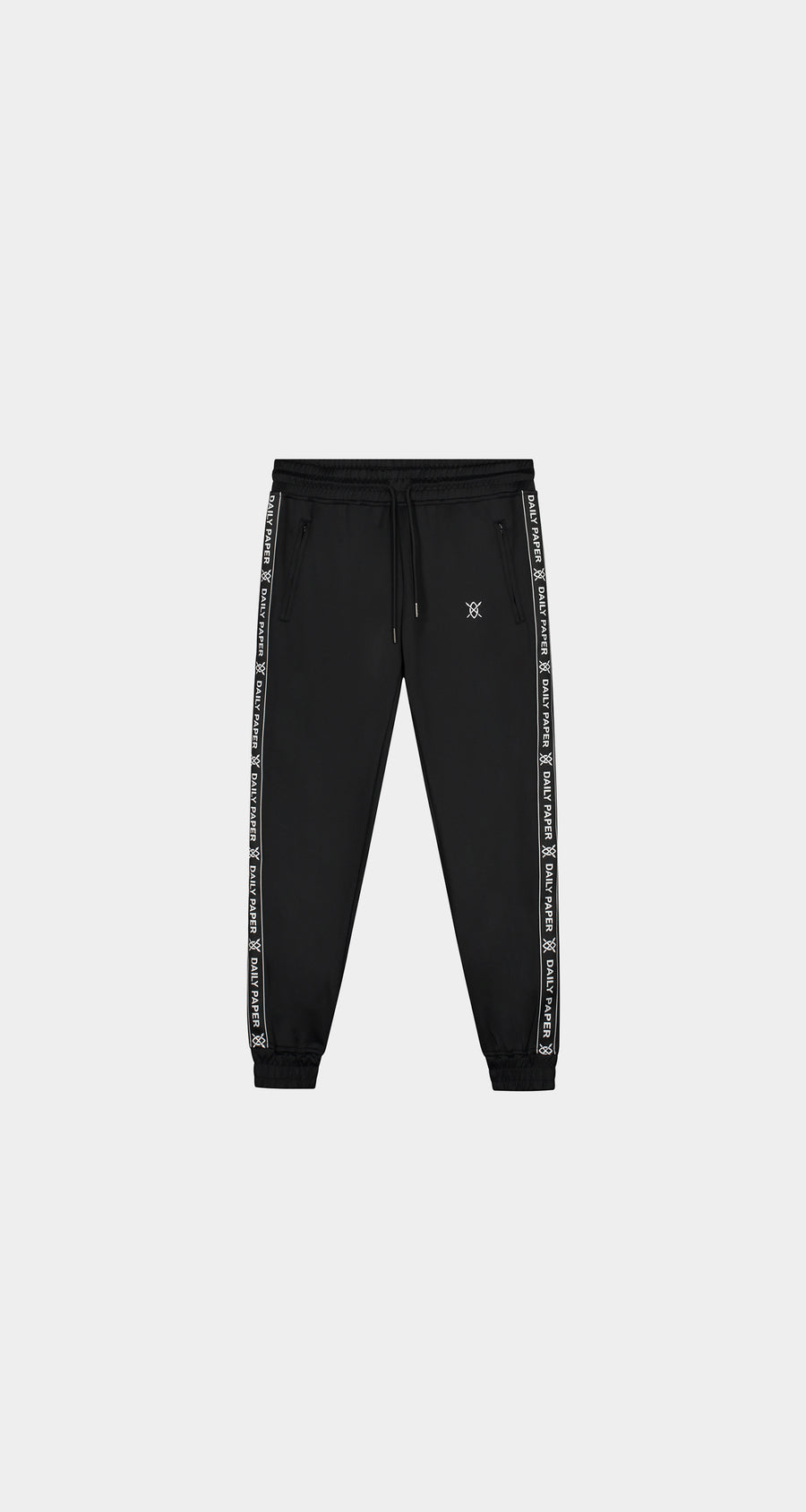 Daily Paper - Black Tape Logo Track Pants - Men Front