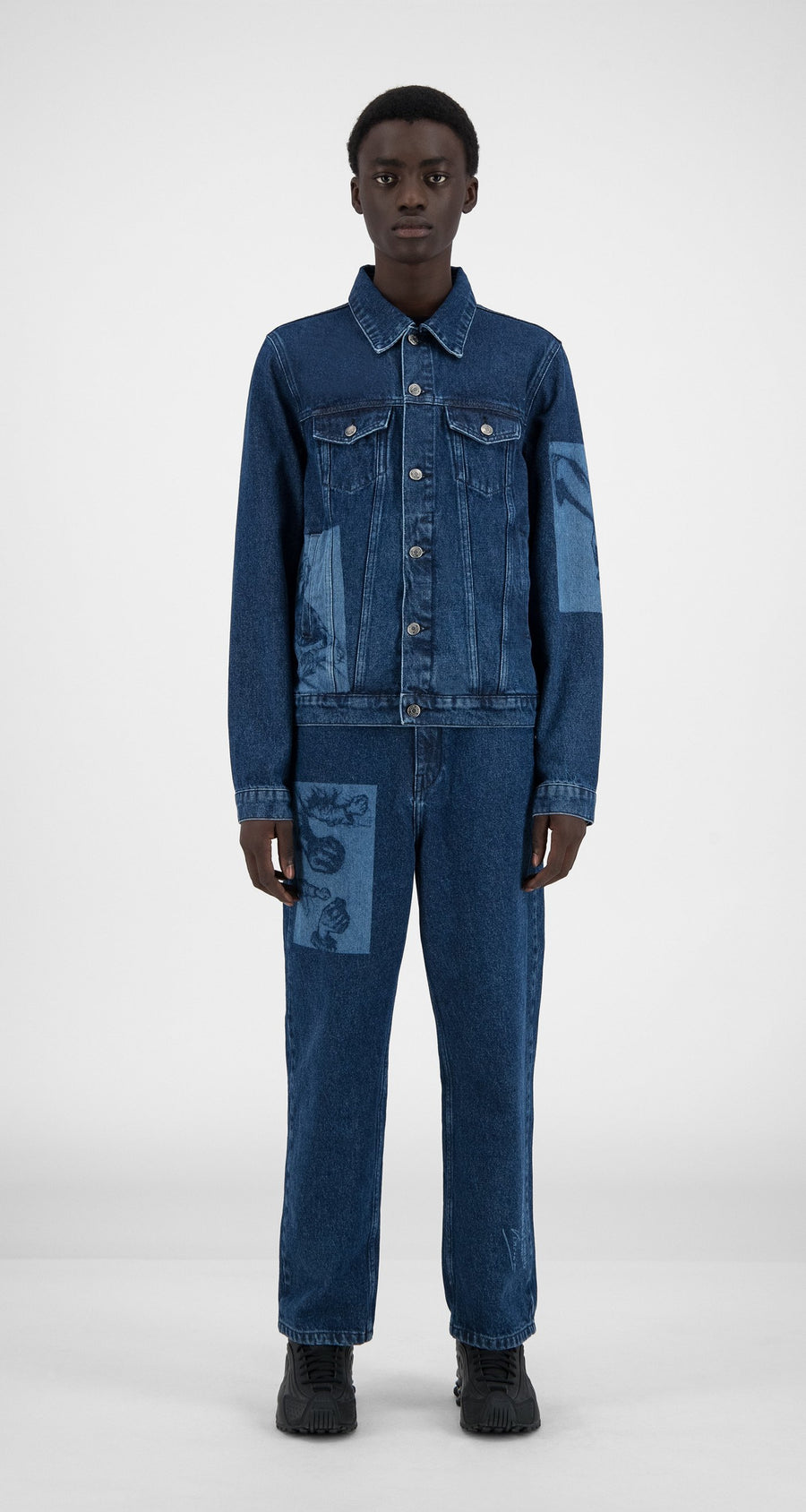 Daily Paper x Van Gogh Museum - Blue Denim Van Hajean Jacket - Men Front