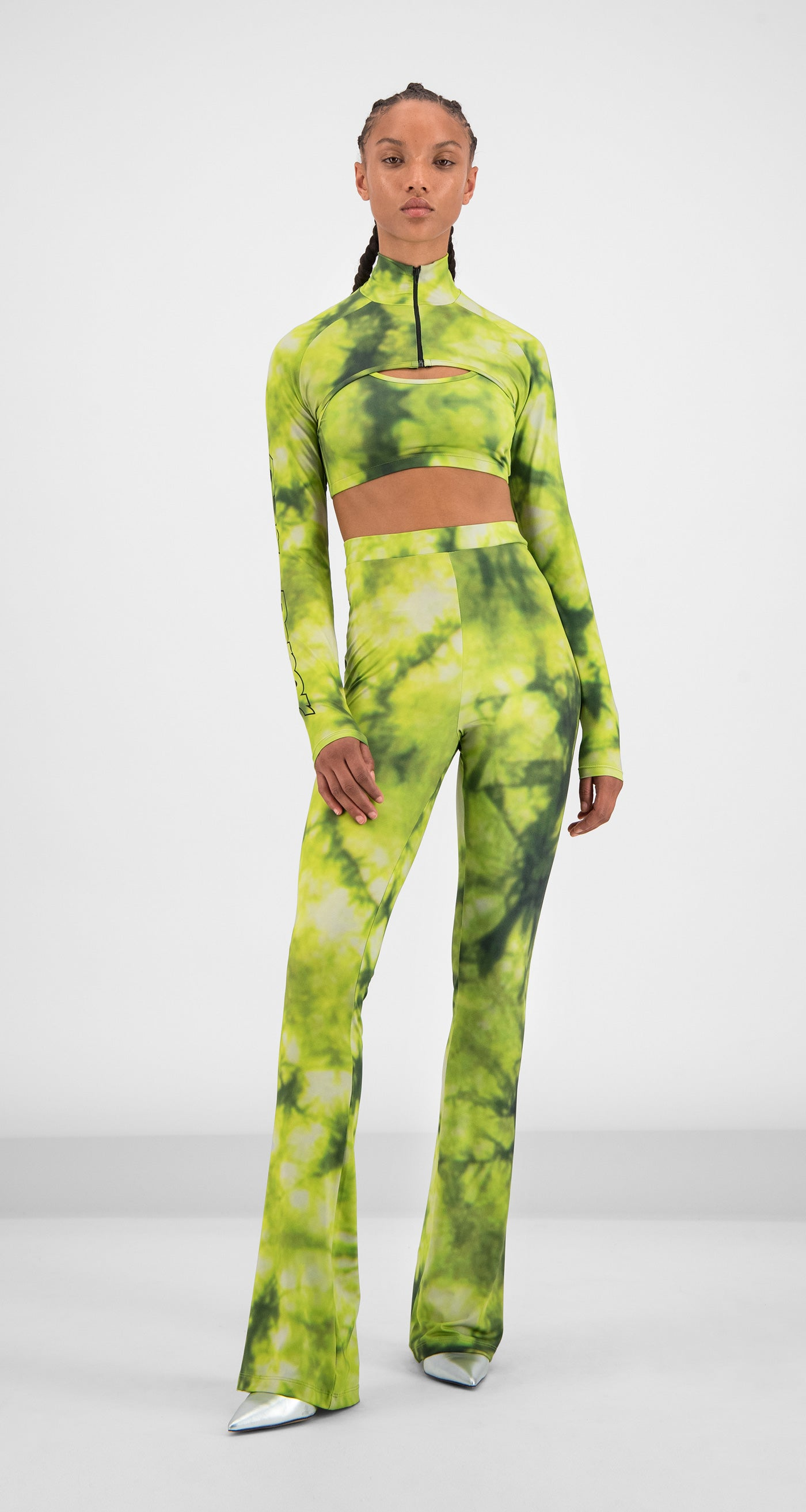 Daily Paper - Green Tie Dye Gare Pants Women Front