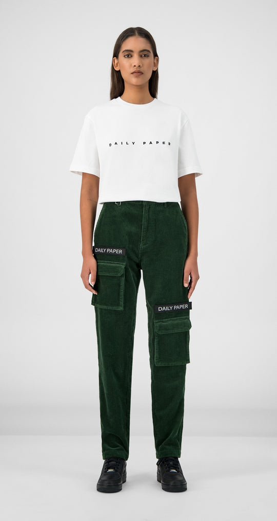 Daily Paper - Green Corduroy Cargo Pants Women Front