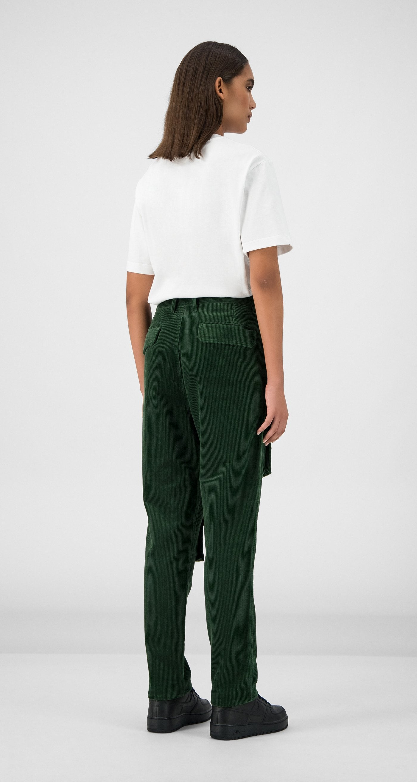 Daily Paper - Green Corduroy Cargo Pants Women Rear