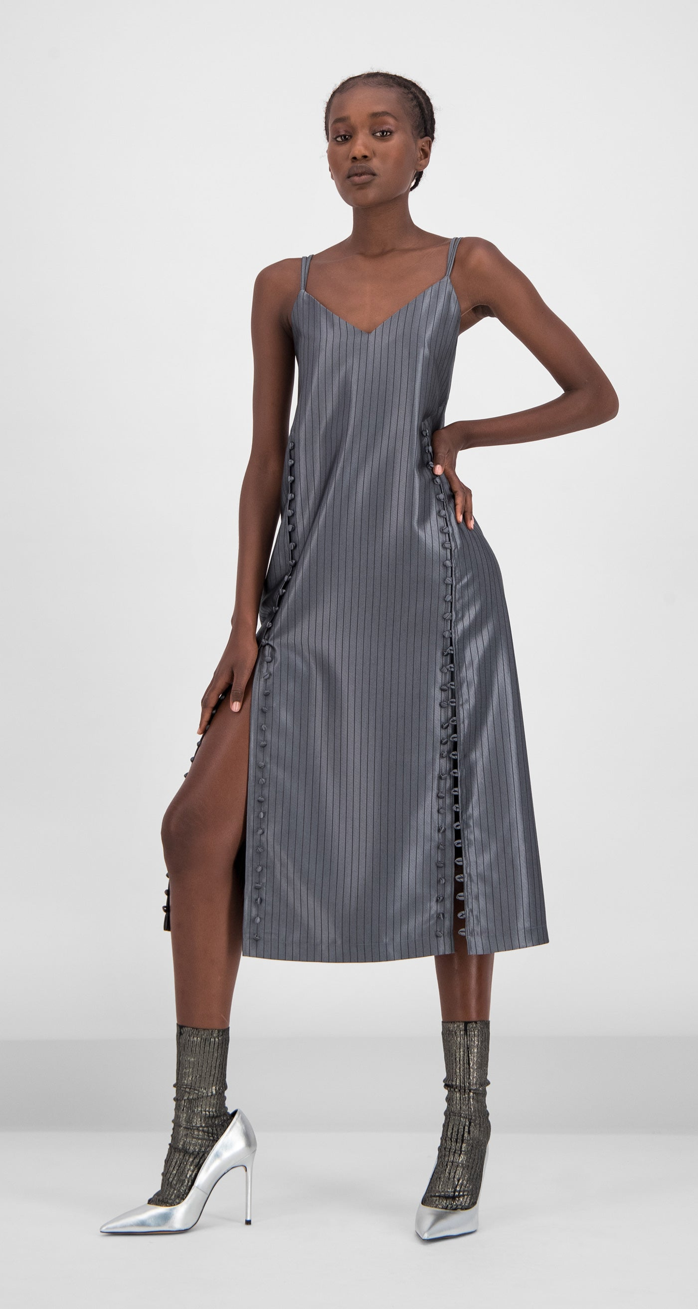 Daily Paper - Grey Striped Gib Dress Women