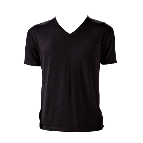 Marteino Men's V Neck Full Plain Black Tee Shirt | Short Sleeve | Classic Slim Fit