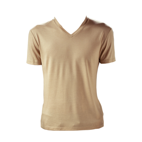 Marteino Men's V Neck Full Plain Tan Tee Shirt | Short Sleeve | Classic Slim Fit