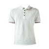 Marteino Men's Slim Fit Ribbed Short Sleeve White Polo Shirt
