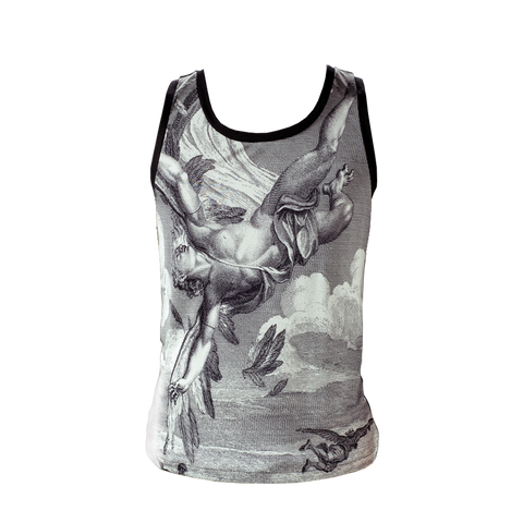 Marteino Men's Silk Icarus Printed Tank Top | Undershirt T Shirt