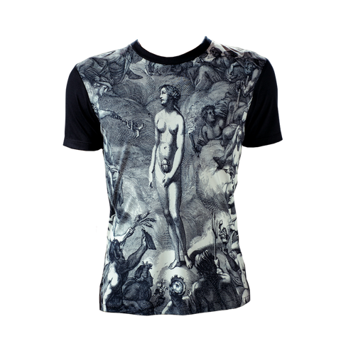 Marteino Men's Pandora Silk Printed Tee Shirt | Featured Short Sleeve