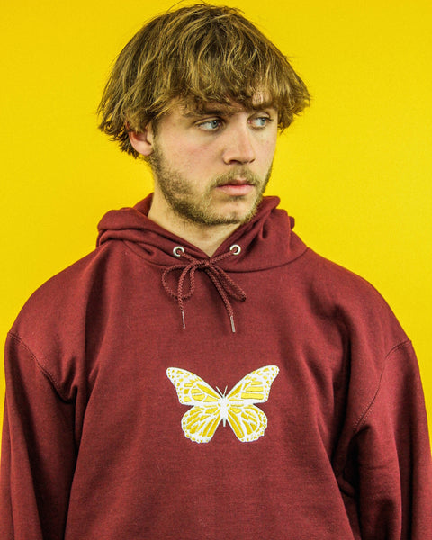 GLZD BUTTERFLY CHAMPION® HOODIE (BURGUNDY)