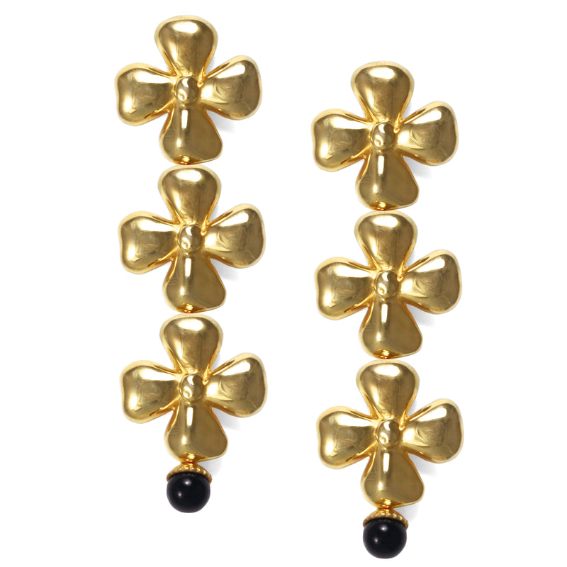 Earrings - Triple Blossom - Black Onyx