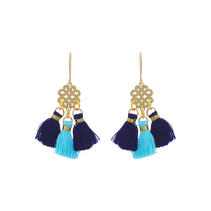 Earrings - Mini Tassel - Blue Azure