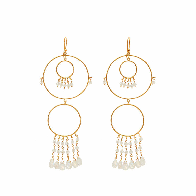 Earring - Begum Circles in Moonstone