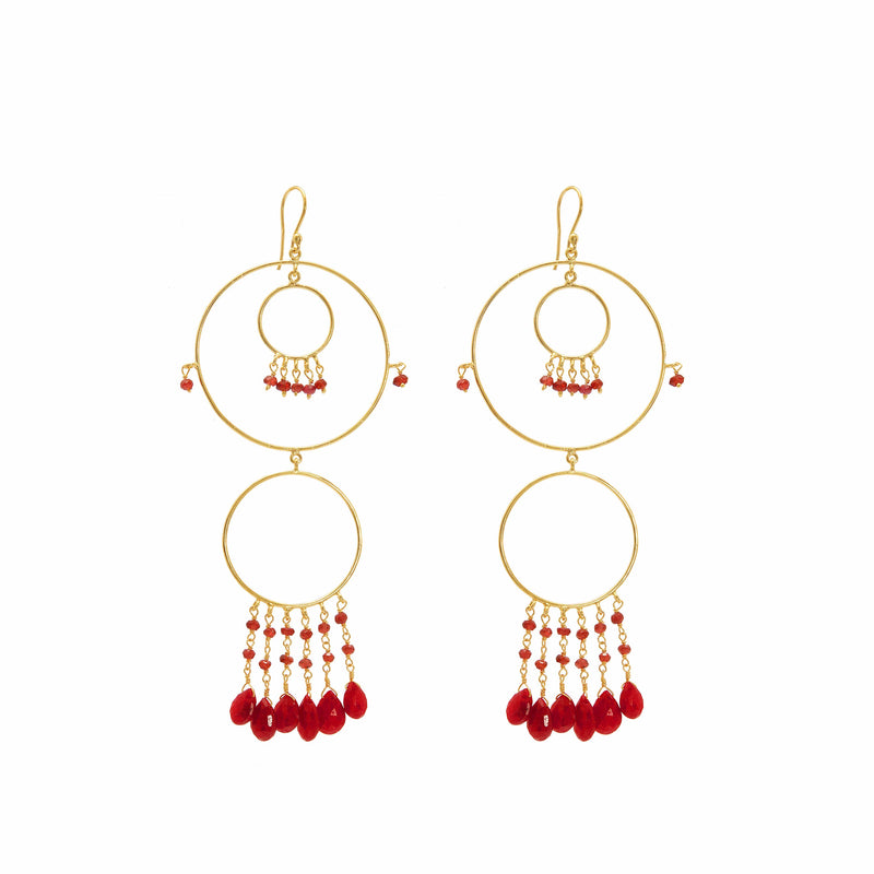 Earring - Begum Circles in Ruby & Garnet