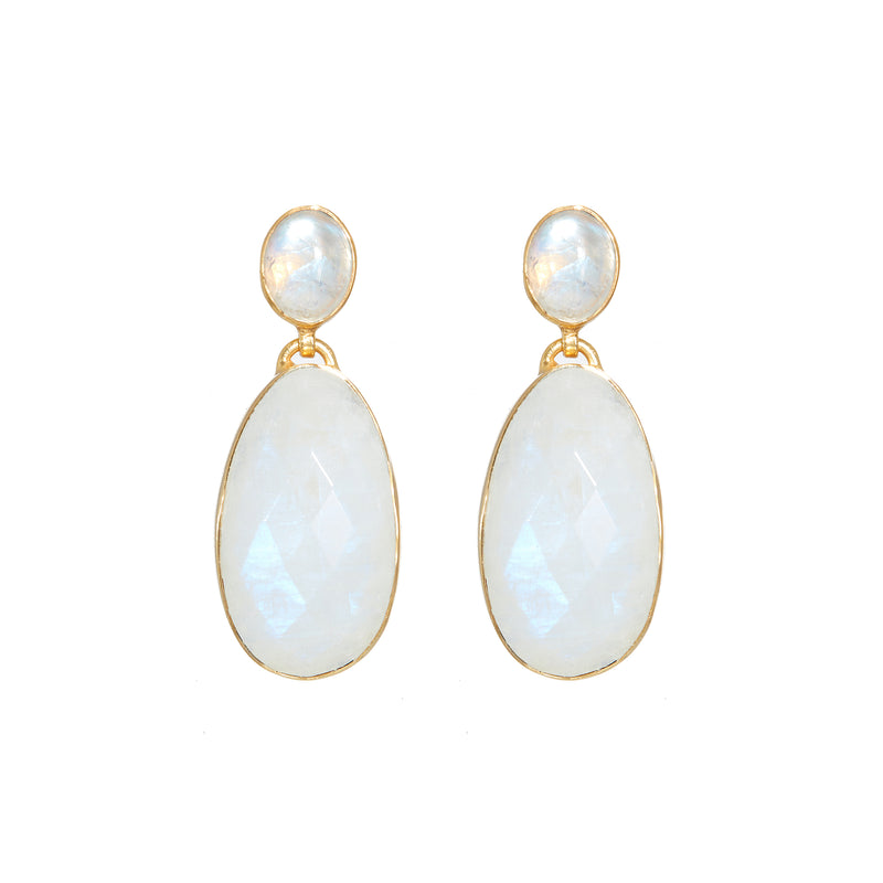 Earring - Moonstone Double Drops