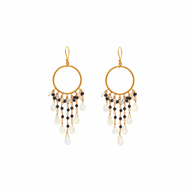 Earring - Mini Begum Earrings in Black Spinel & Moonstone