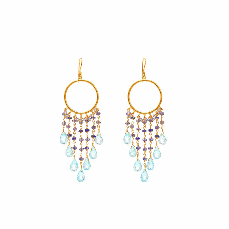 Earring - Mini Begum Earrings in Iolite & Blue Topaz