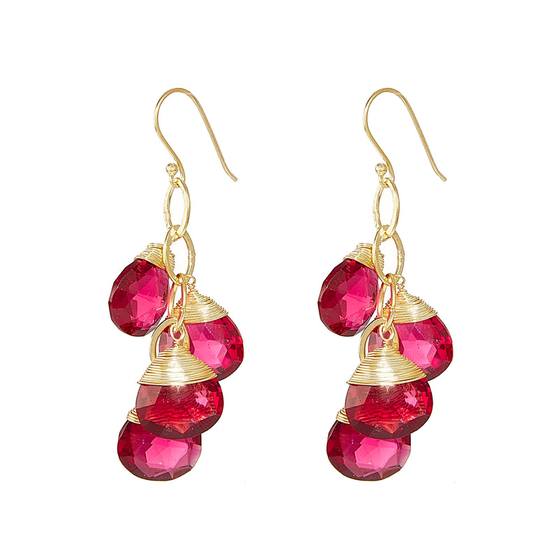 Earring - Ruby Red Crystal Quartz Briolette