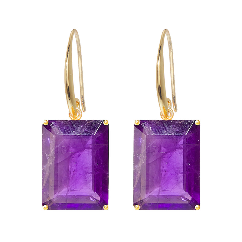 Earrings - Emerald cut Amethyst drop