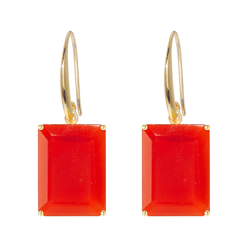 Earrings - Emerald cut Carnelian drop