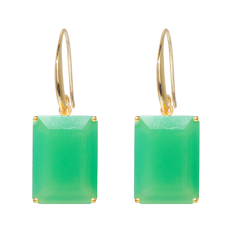 Earrings - Emerald cut Prasiolite drop