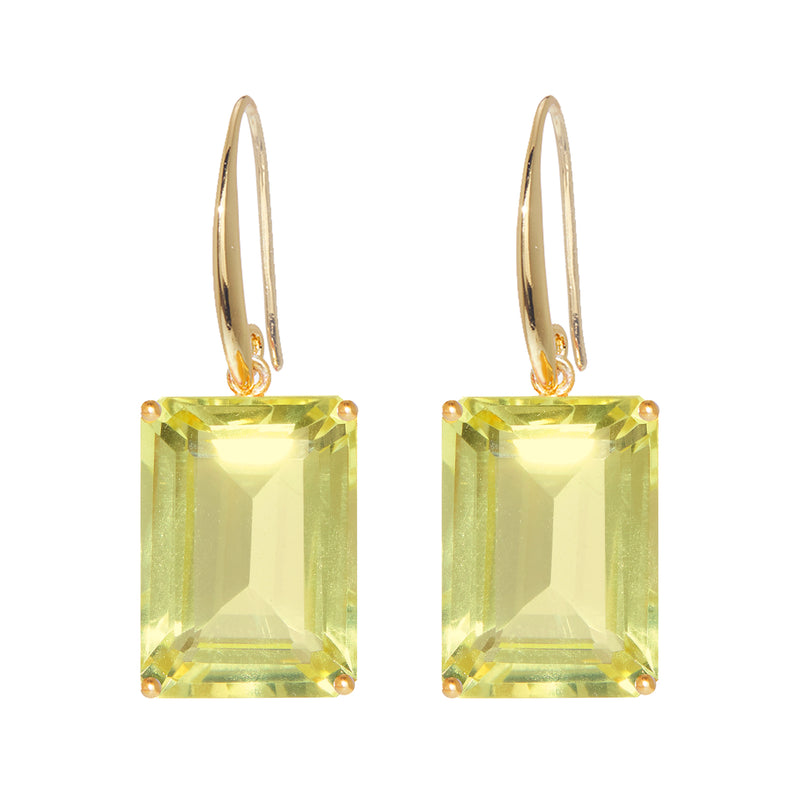 Earrings - Emerald cut Lemon Quartz drop