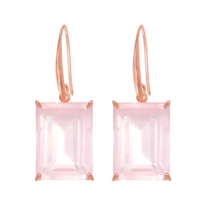 Earrings - Emerald cut Rose Quartz drop