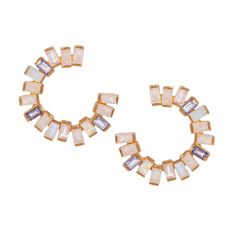 Earring - Open Gemstone Hoops