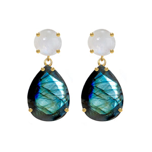 Earring - Labradorite & Moonstone Double Drops