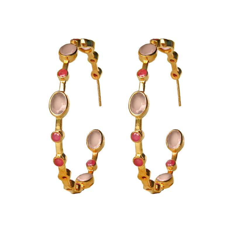 Earrings - Rose Quartz & Ruby Hoops