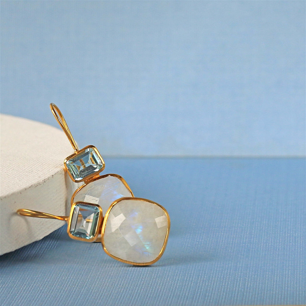 Earrings - Moonstone & Blue Topaz Drops