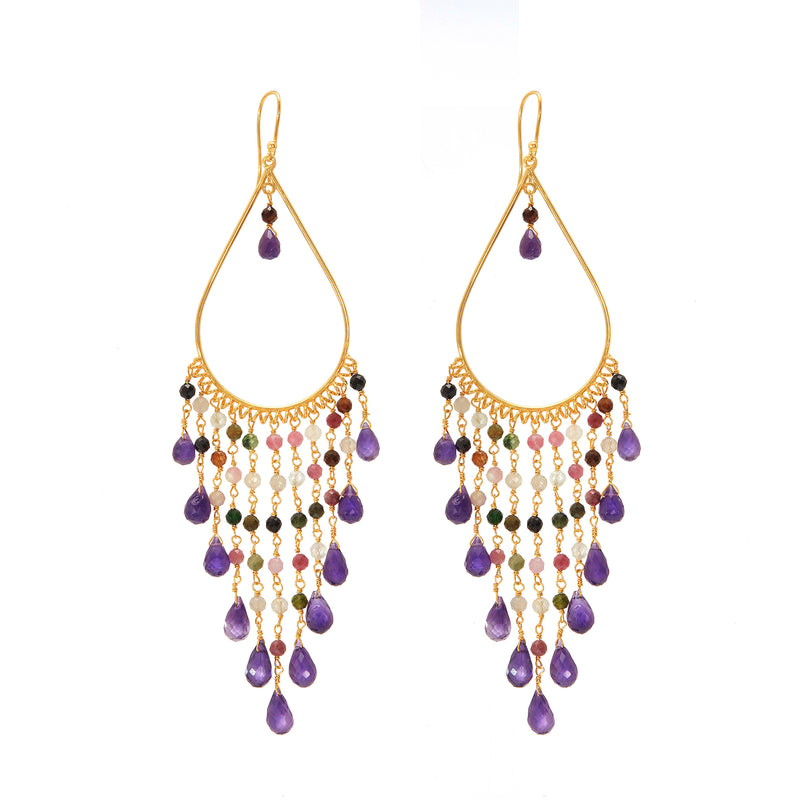 Earring - Begum Earrings in Amethyst & Tourmaline
