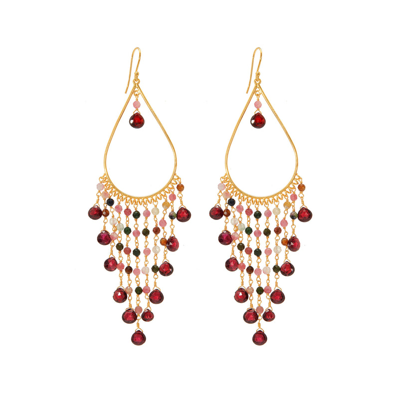 Earring - Begum Earrings in Garnet & Tourmaline
