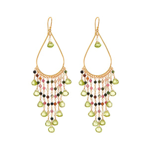 Earring - Begum Earrings in Peridot & Tourmaline
