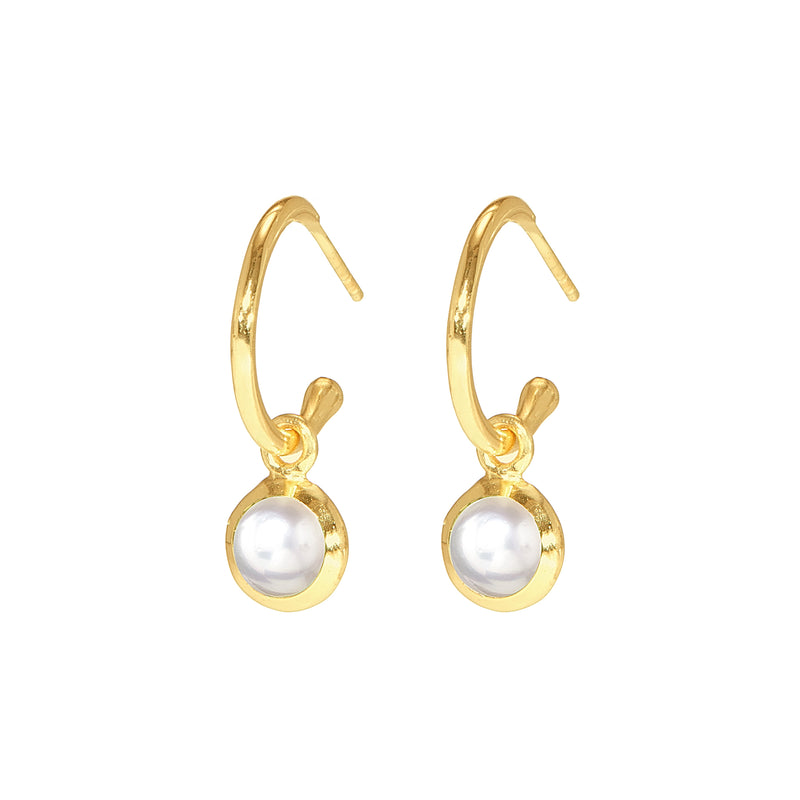 Earrings - Huggie Hoops in Pearl