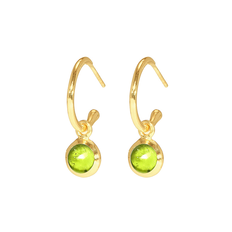 Earrings - Huggie Hoops in Peridot