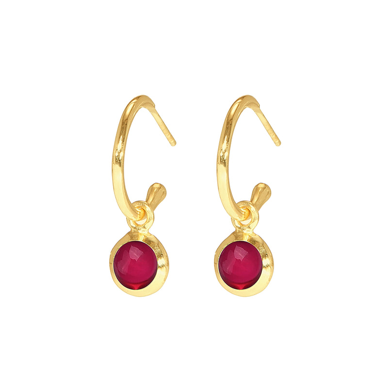 Earrings - Huggie Hoops in Ruby