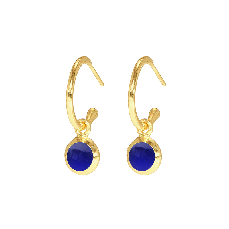 Earrings - Huggie Hoops in Lapis Blue