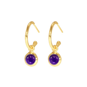 Earrings - Huggie Hoops in Amethyst