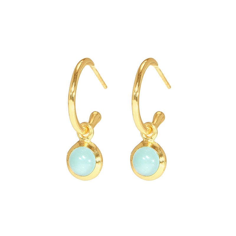 Earrings - Huggie Hoops in Chalcedony