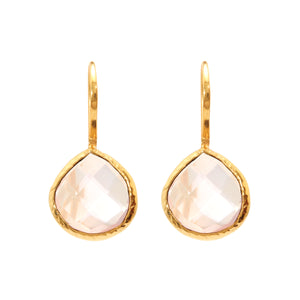 Earrings - Rose Quartz Teardrops